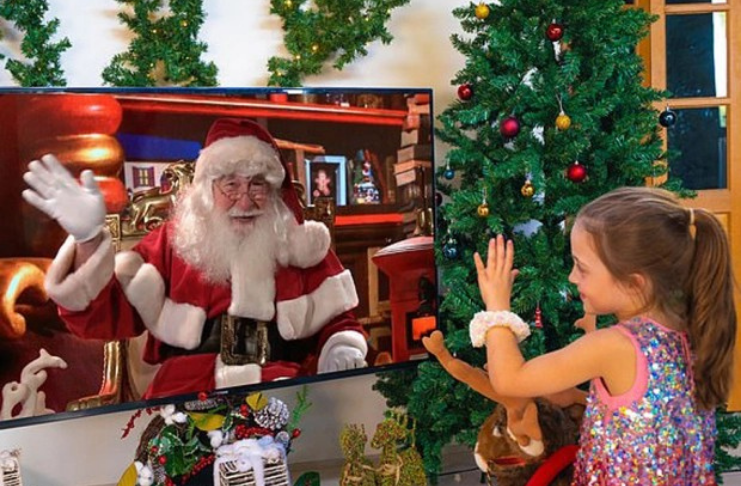 Papai Noel usa o Zoom para enviar mensagens virtuais para crianças