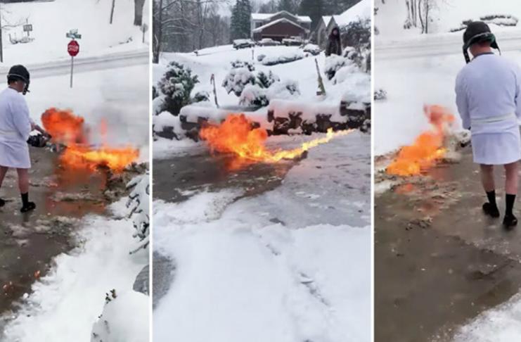 Homem de Kentucky usa lança-chamas para limpar a entrada de automóveis coberta de neve