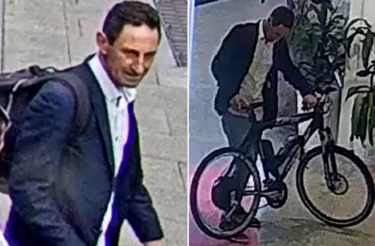Homem australiano preso na fita desenhando pênis com pneu de e-bike